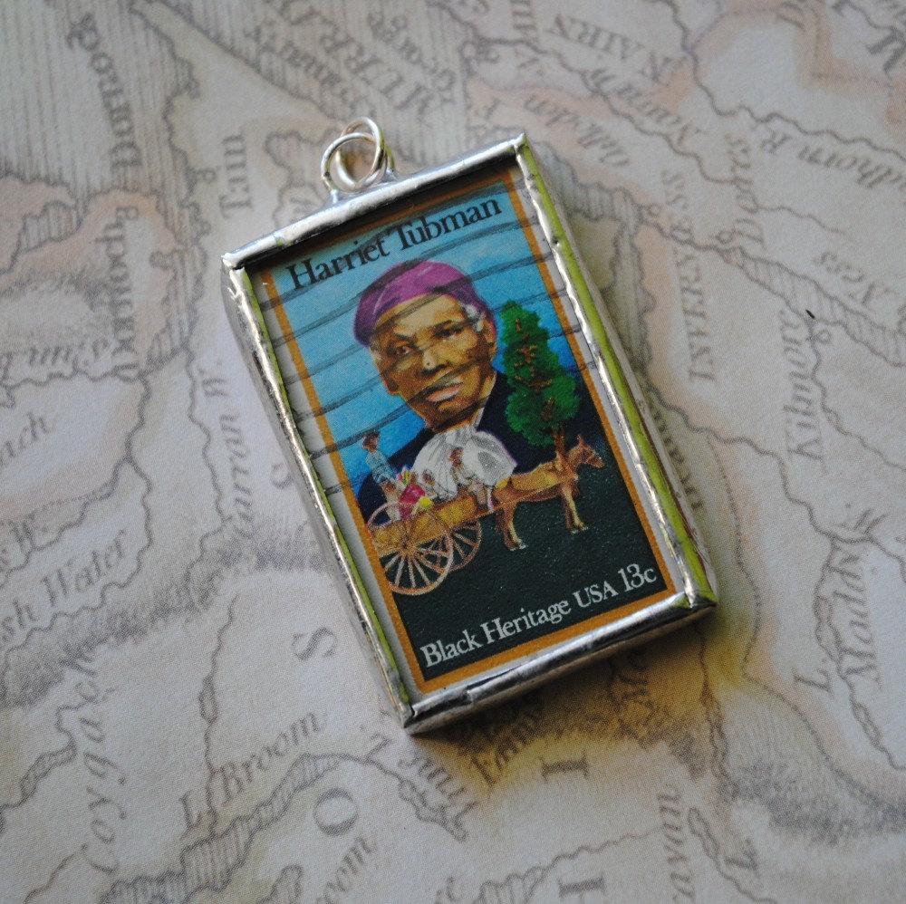Harriet Tubman Vintage Stamp Pendant Soldered Glass