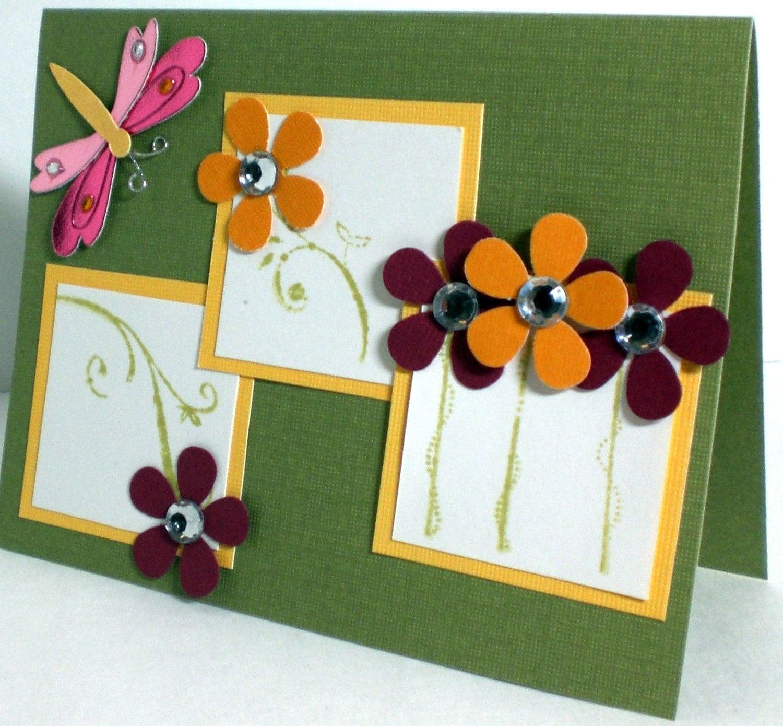 Gold Burgundy Green Firefly Flower Blank Card