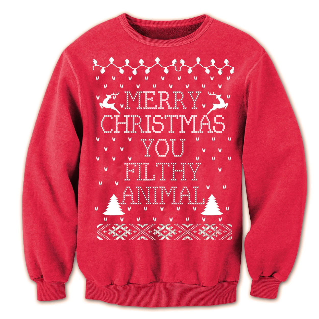 Ugly Christmas Sweater Merry CHRISTMAS Ya FILTHY Animal - you funny retro movie xmas ugly sweater contest party humorous new - Womens Unisex