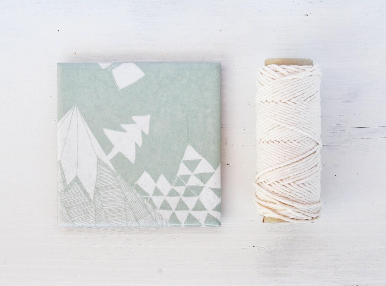 Coasters Winter Wonderland Mint Green Geometric White Pastel Mountain Christmas Gift , set of 4 - Tilissimo