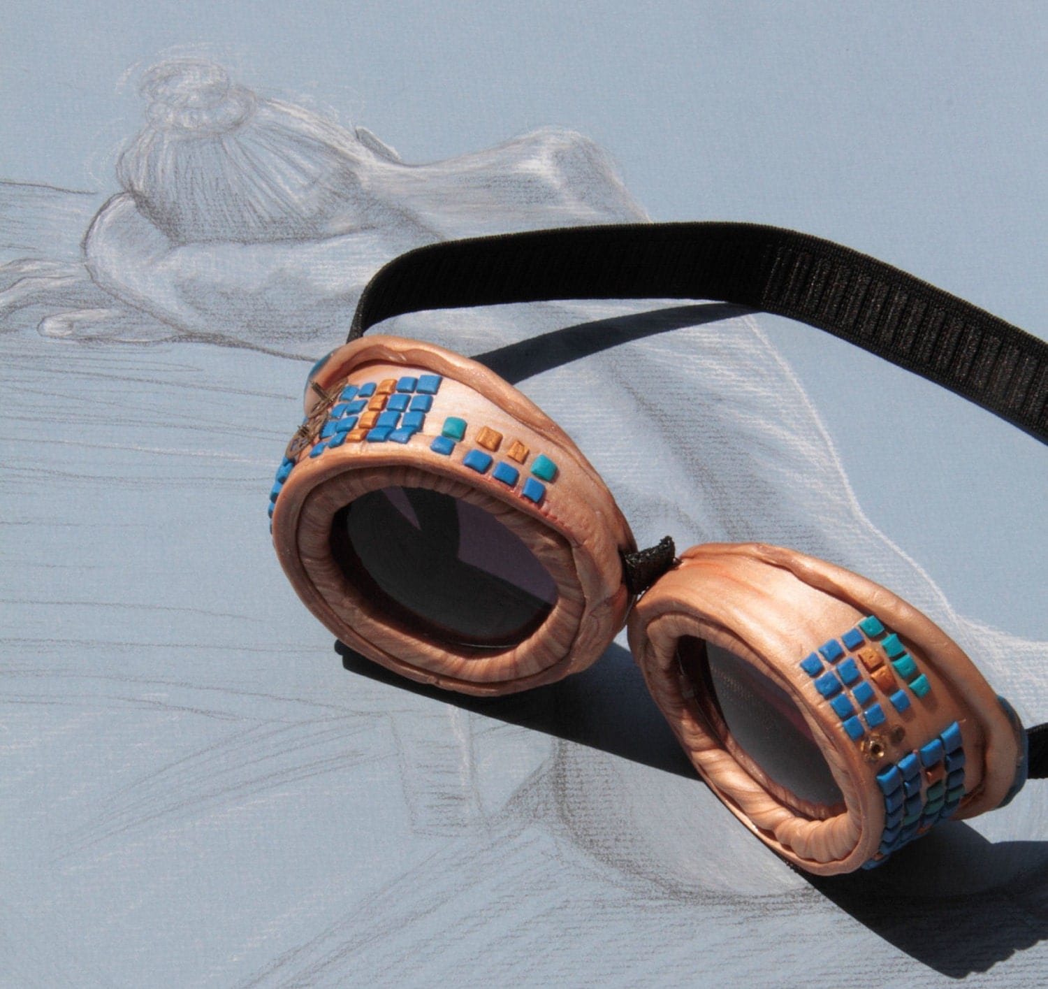 Golden Mosaic Steampunk Adventure Goggles