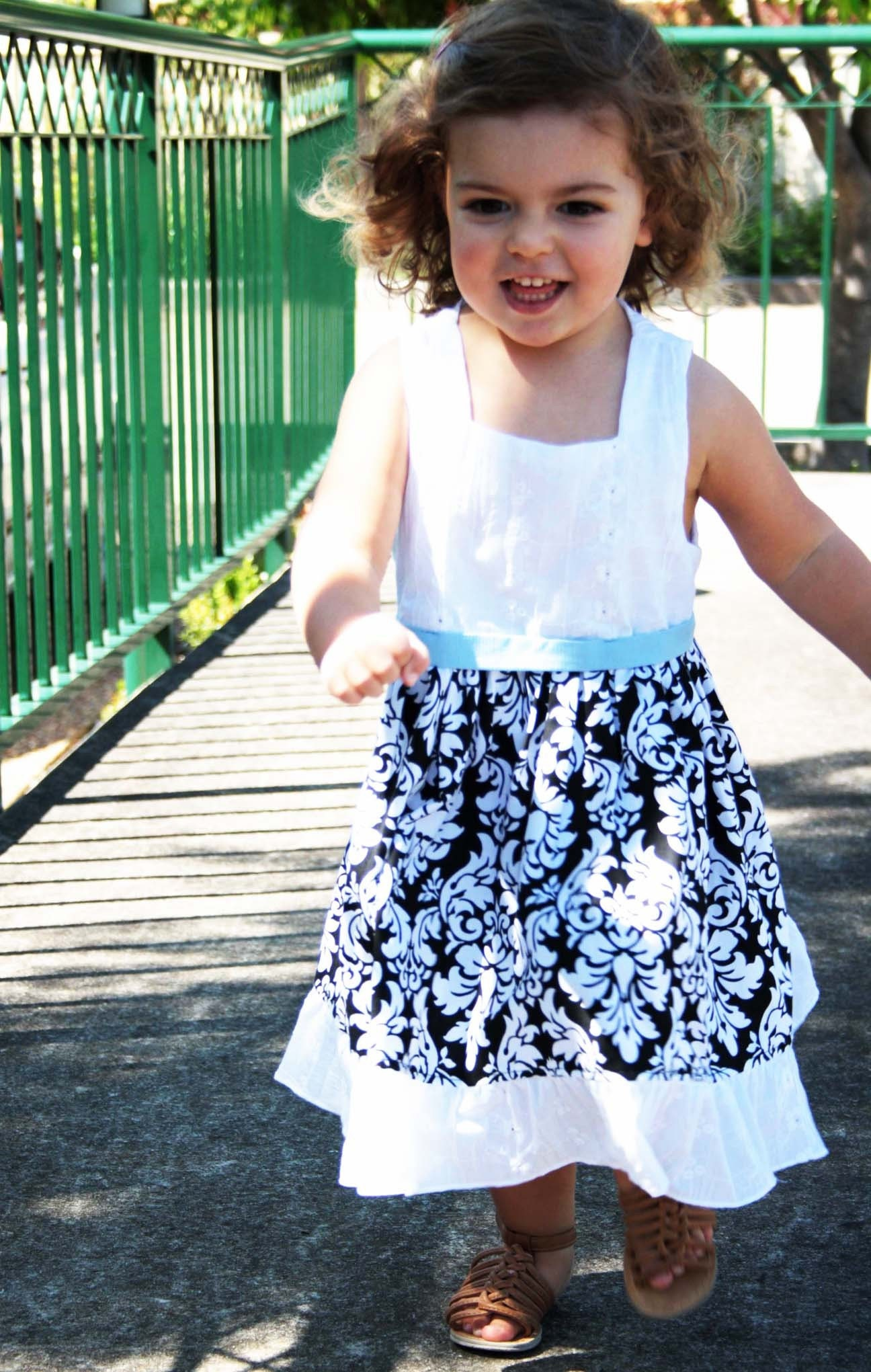 Little girls dress - black and white damask - girls dress - kids clothes