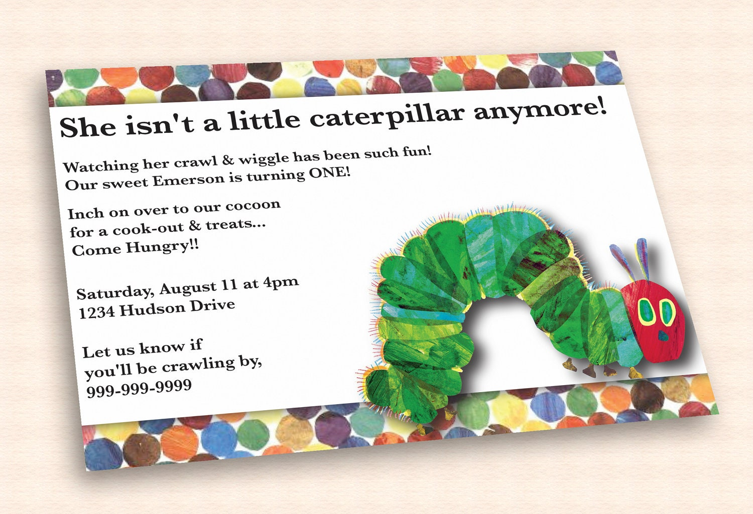 The Very Hungry Caterpillar Invitations with adorable invitation sample
