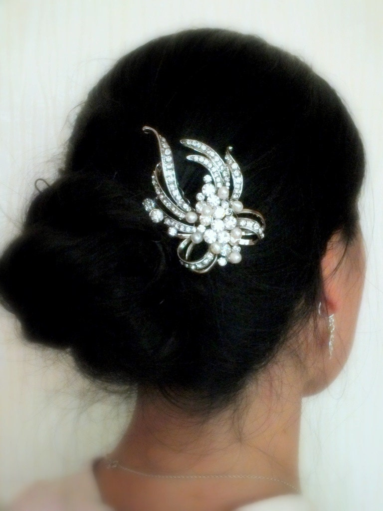 Maria - Vintage style Rhinestone and Freshwater Pearl Bridal Comb