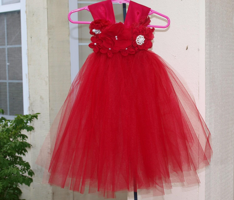 Items similar to vintage christmas red tulle tutu dress wedding flower