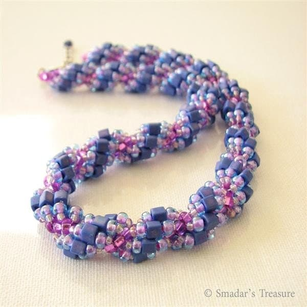 Purple and Fuchsia Spiral Necklace