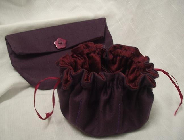Plum Clutch and Matching Jewelry Tote