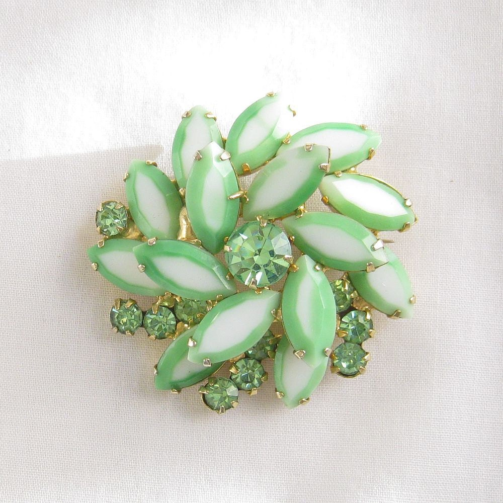 Vintage Verified JULIANA DeLizza and Elster, D&E, White and Mint Green Rhinestone Layered Swirl Brooch or Pin - MyVintageJewels