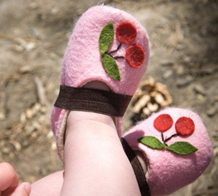 Cherry cupcake wool shoes available size 0-24 months