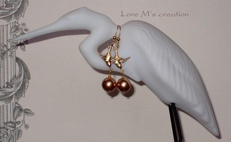 boucles d'oreilles perles et oiseaux, gold 14k, Lore M
