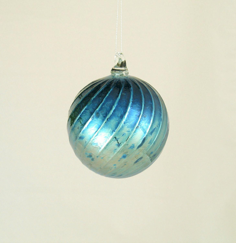 Glass Christmas Ornament Hand Blown Glass Ball by AvolieGlass