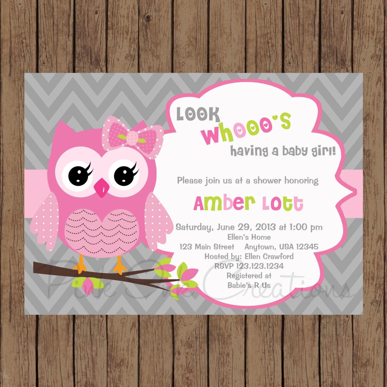 Owl Chevron Pink Baby Shower Invitation / Pink Grey Owl Chevron Birthday Invitation / PRINTABLE ...