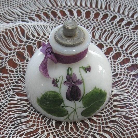 Vintage Perfume Milk Glass Devon Violets Torquay By