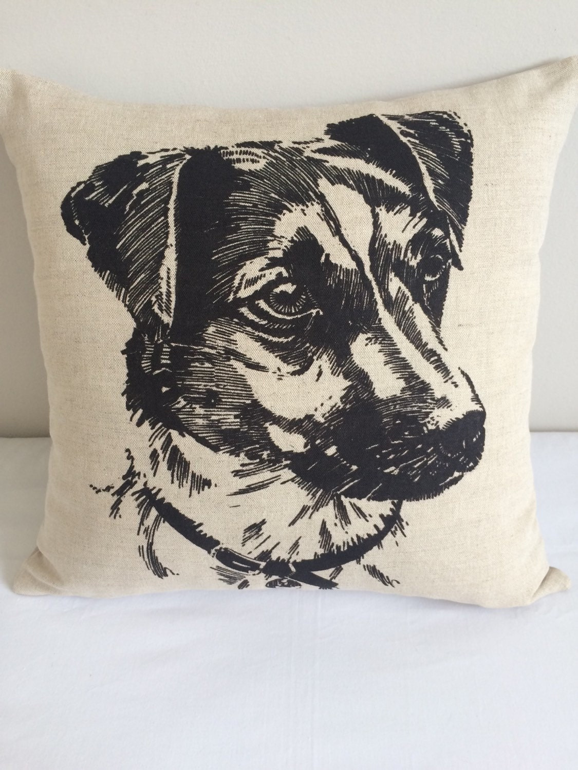 Cushion cover with Jack Russel print
