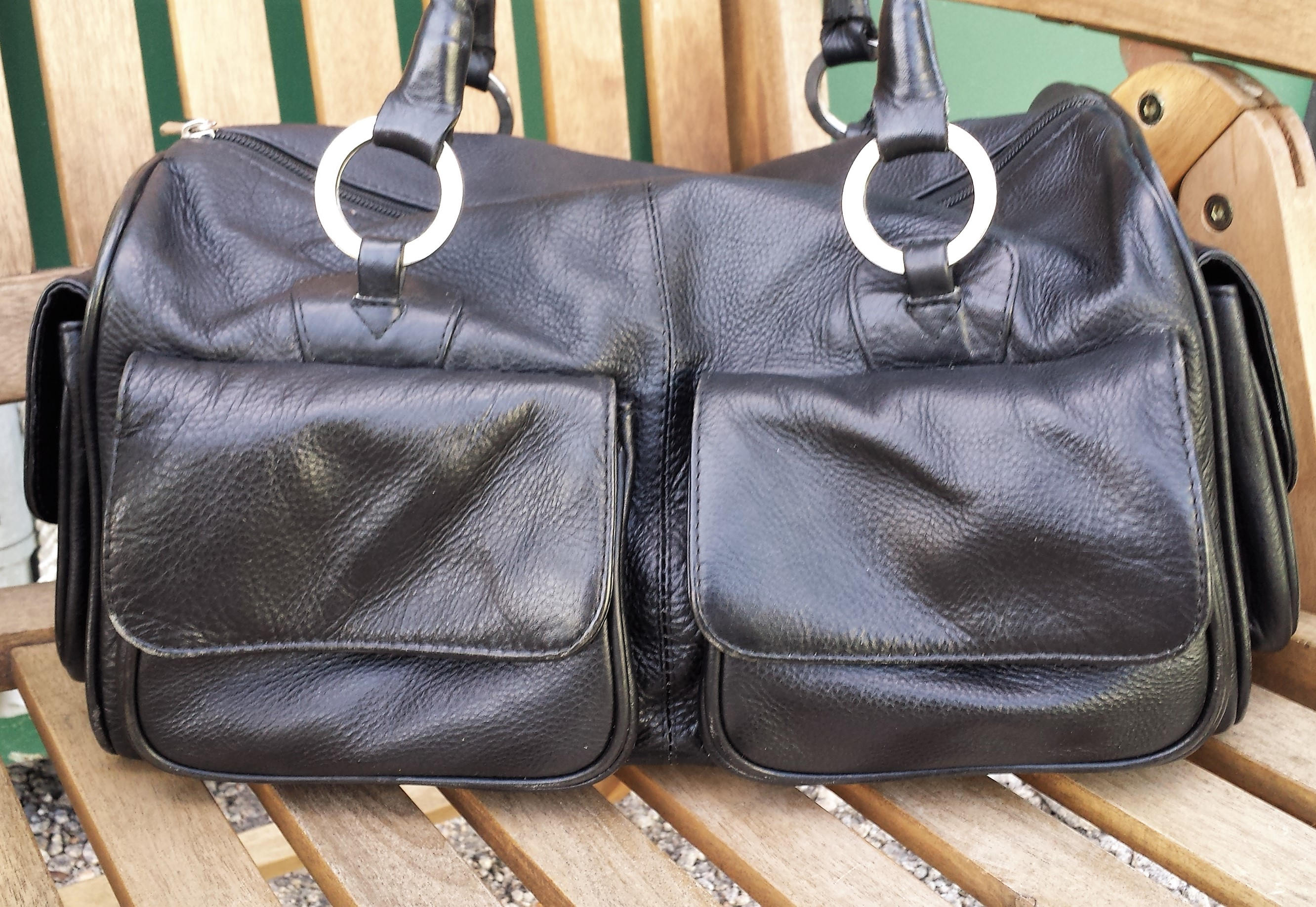 Black leather Holdall style Bag Vintage hobo satchel purse Black leather mini holdall.  R.S. leather bag  purse
