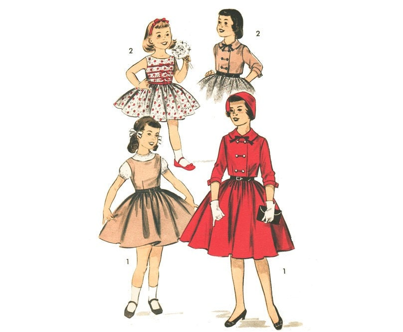 Vintage 1950s Girl's Advance 8046 SEWING PATTERN, Full Circle Skirt Dress Jumper, Crop Jacket Size 12 Bust 30 XS by mysweetiepiepie on Etsy