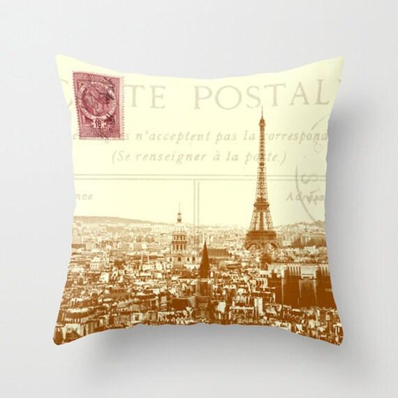 throw pillow cover paris carte postale vintage postcard by adidit. Black Bedroom Furniture Sets. Home Design Ideas