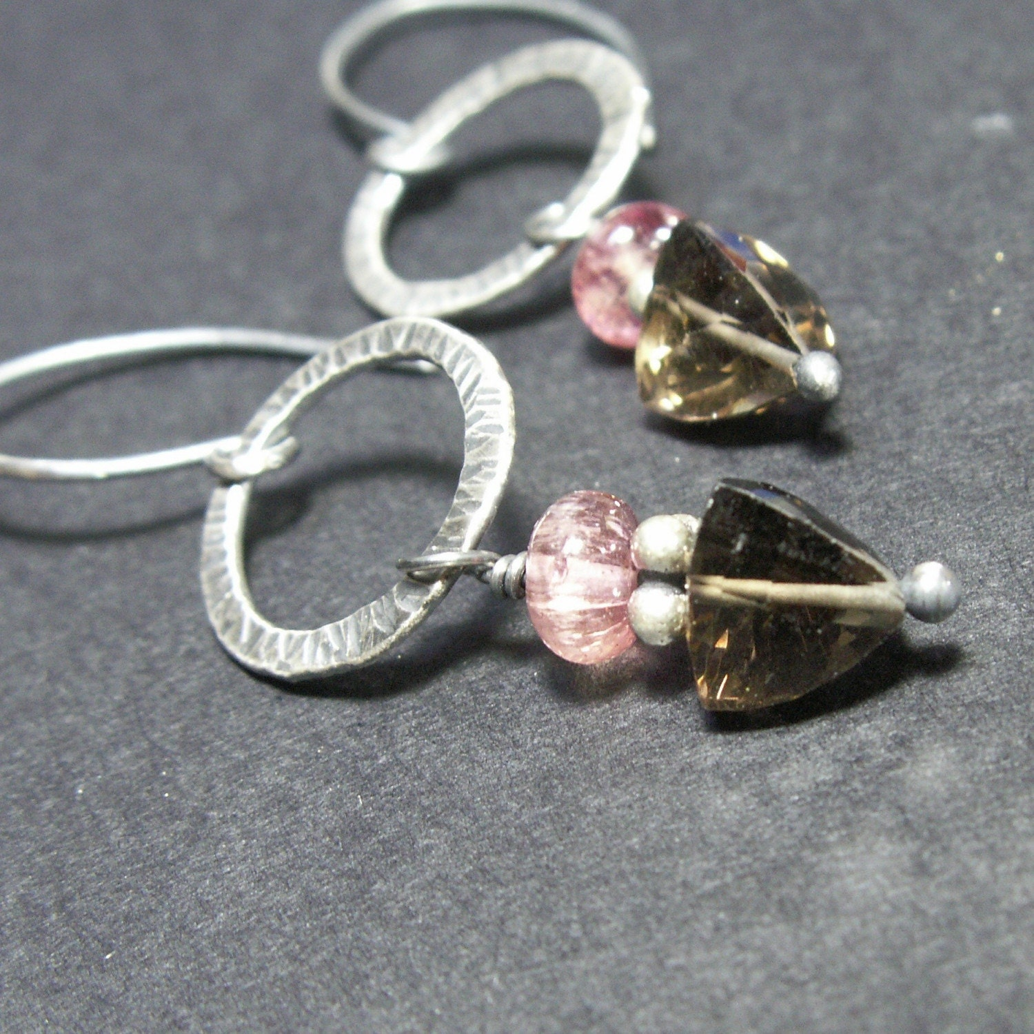 handmade jewelry earrings smoky quartz pink tourmaline sterling silver oxidized