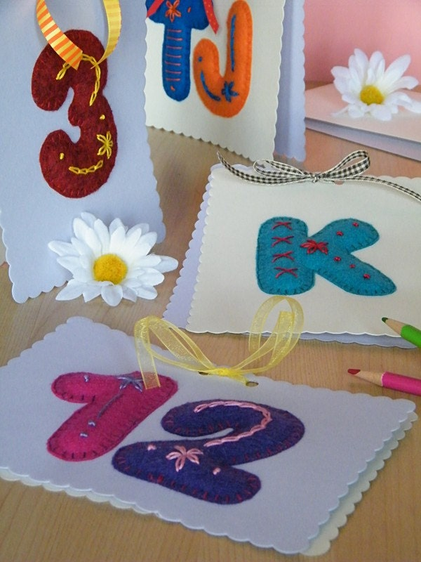 ABC123 - Single Letter/Number SET of 5 - Handmade Greeting Cards
