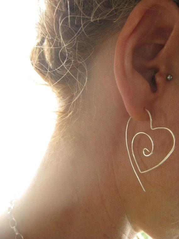 Sterling Silver Tribal Heart Hoop Earrings,  Earthy Organic Hoops, engagements, anniversary, Valentines Day - LotusHandmadeHoops