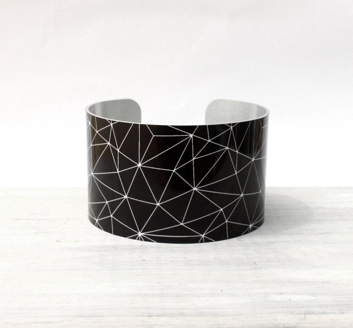 STARR Cuff Bracelet - Metal Cuff - Aluminum Cuff Bracelet - Large Bold Bracelet - Wide Cuff Jewelry - Geometric Web Bracelet - PeaceLoveBeach