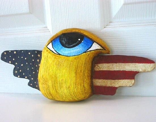 Americana Patriotic Paper Mache Big Eye Bird with Primitive Flag