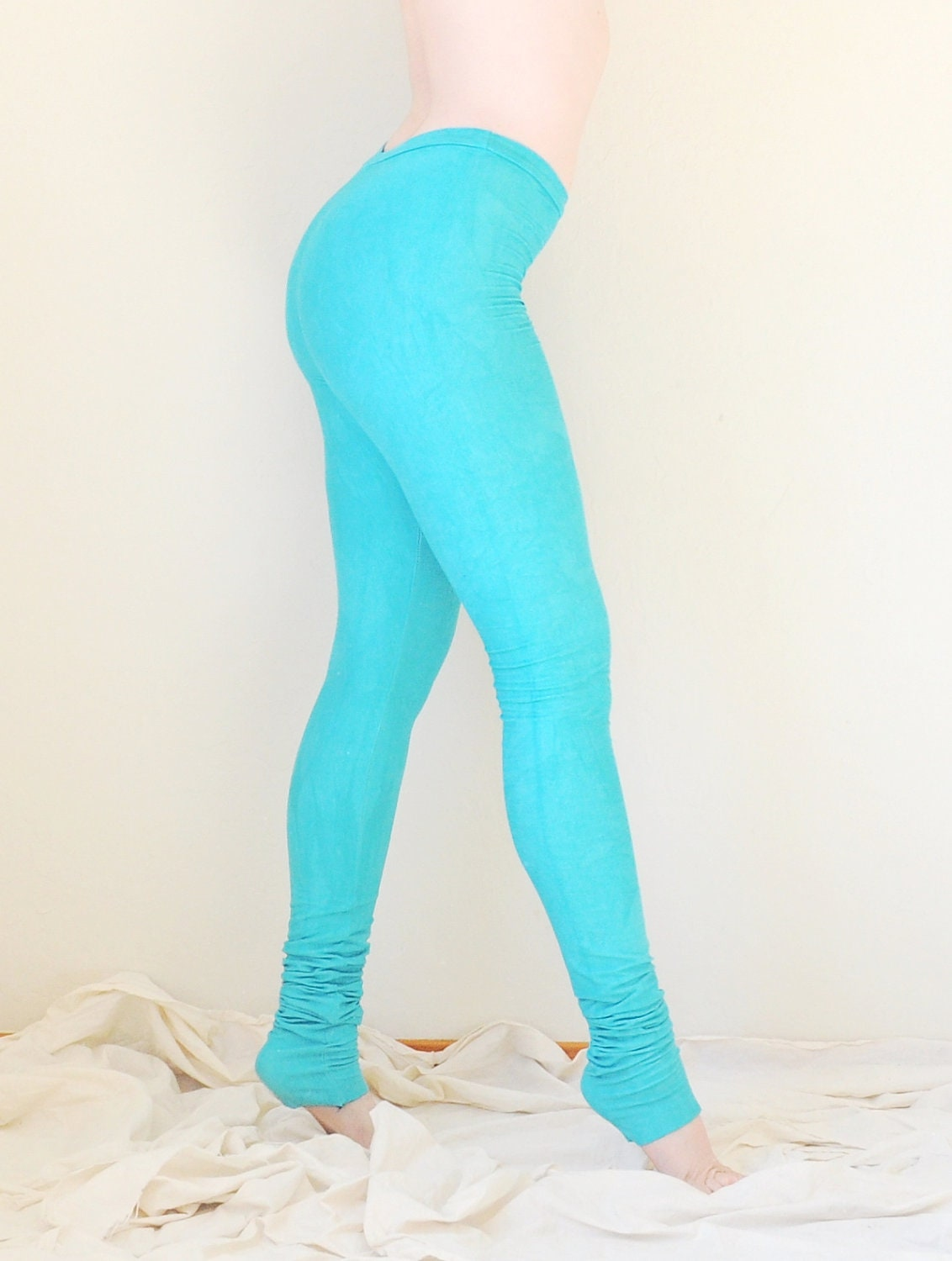 Hand Dyed Leggings in Stretch Cotton - Extra Long Leggings - Dyed Tights - Choose Your Colors - Made to Order - Sizes XS, S, M, L, XL - SewRed