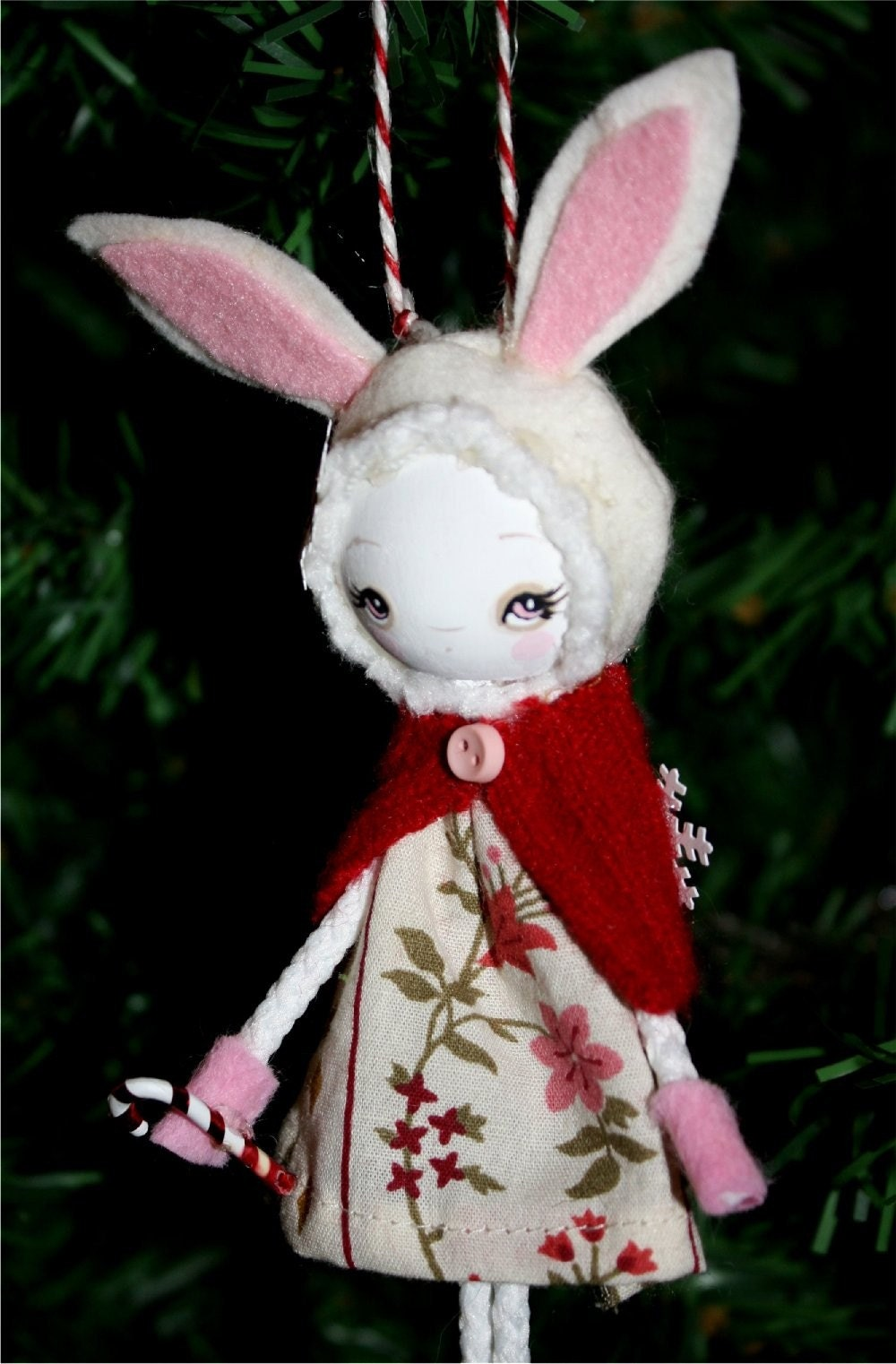 Wooly White Rabbit---Wooden Handmade Tree Ornament