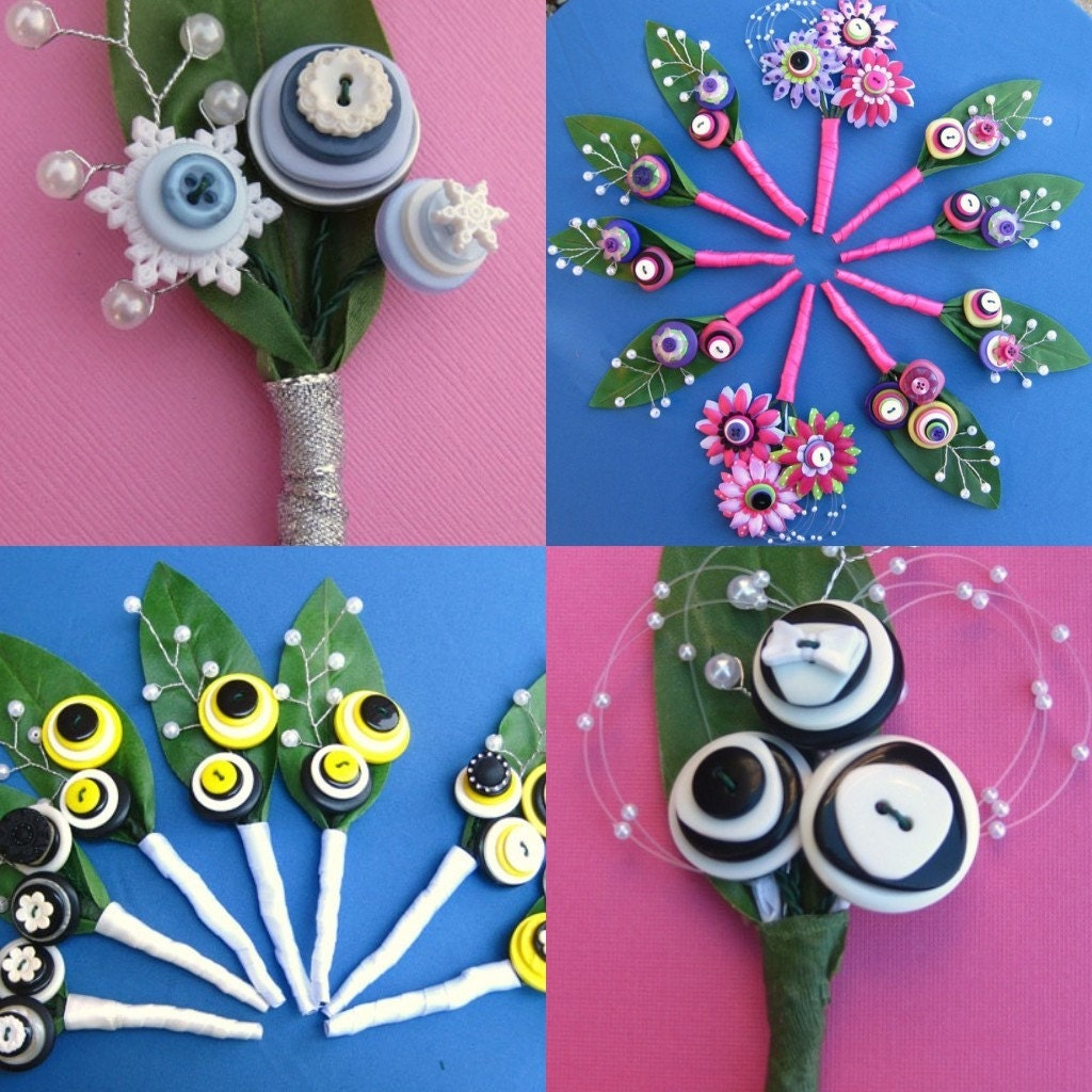 A Set of Custom Bridal Button Bouquets and Boutonnieres for your Big Day