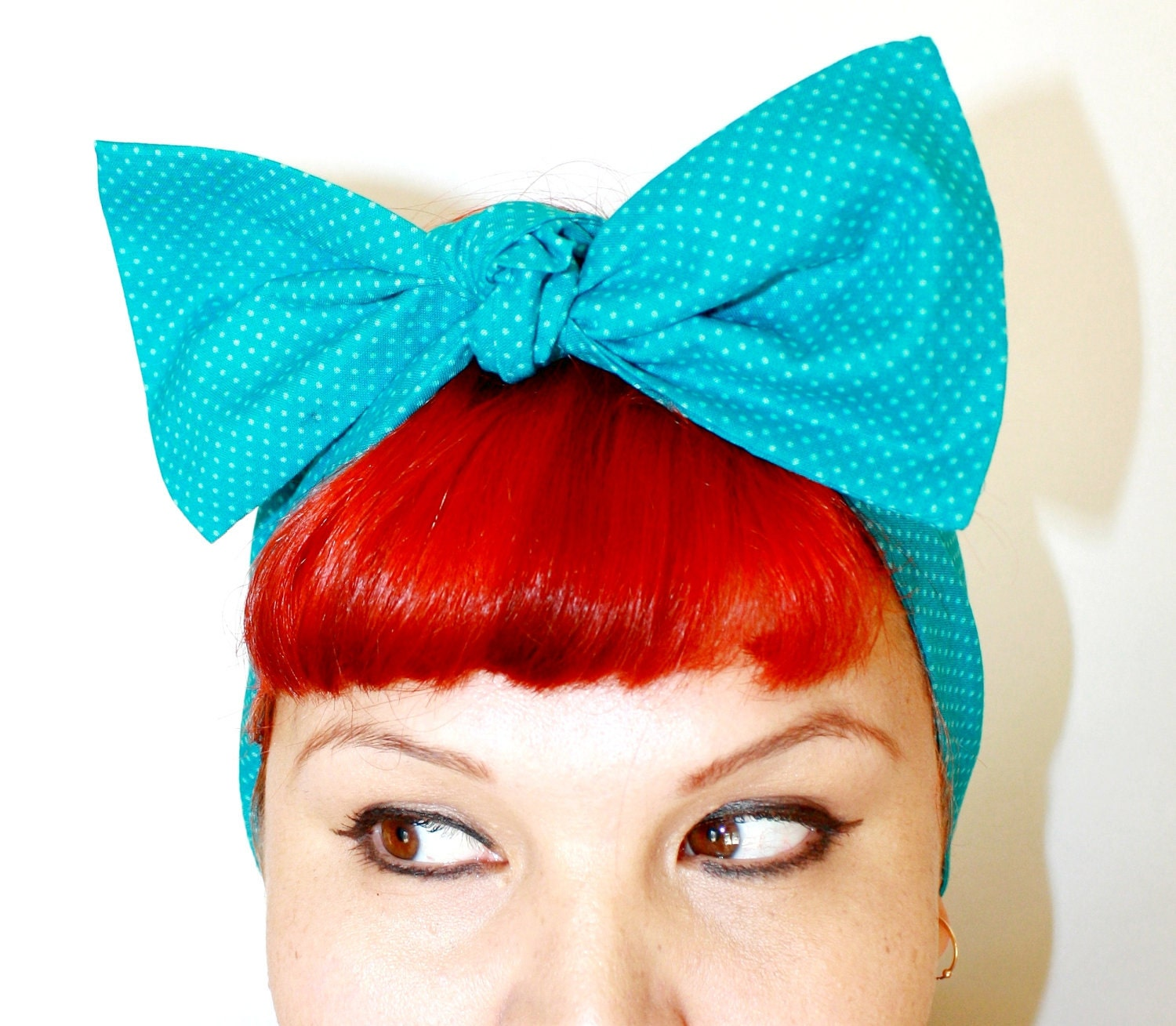 Bow hair tie Turquoise polka dots, Rockabilly, Retro, 1950s, 1940s