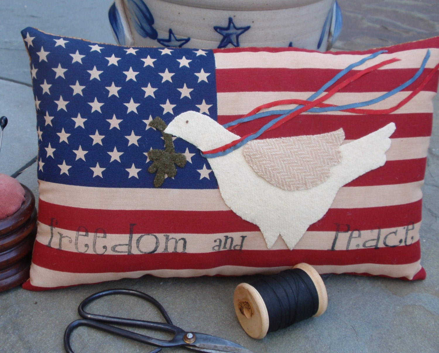 Patriotic Dove of Peace pillow