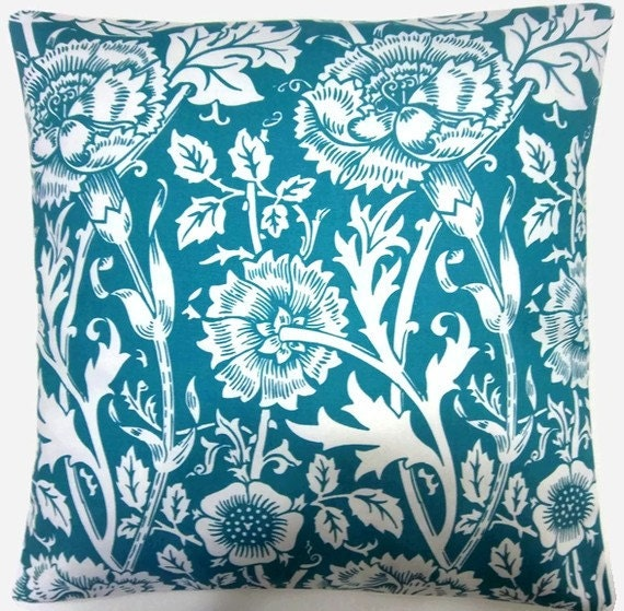 Two Turquoise, White, Floral Pillows, Handmade, Decorative 16 inch pair