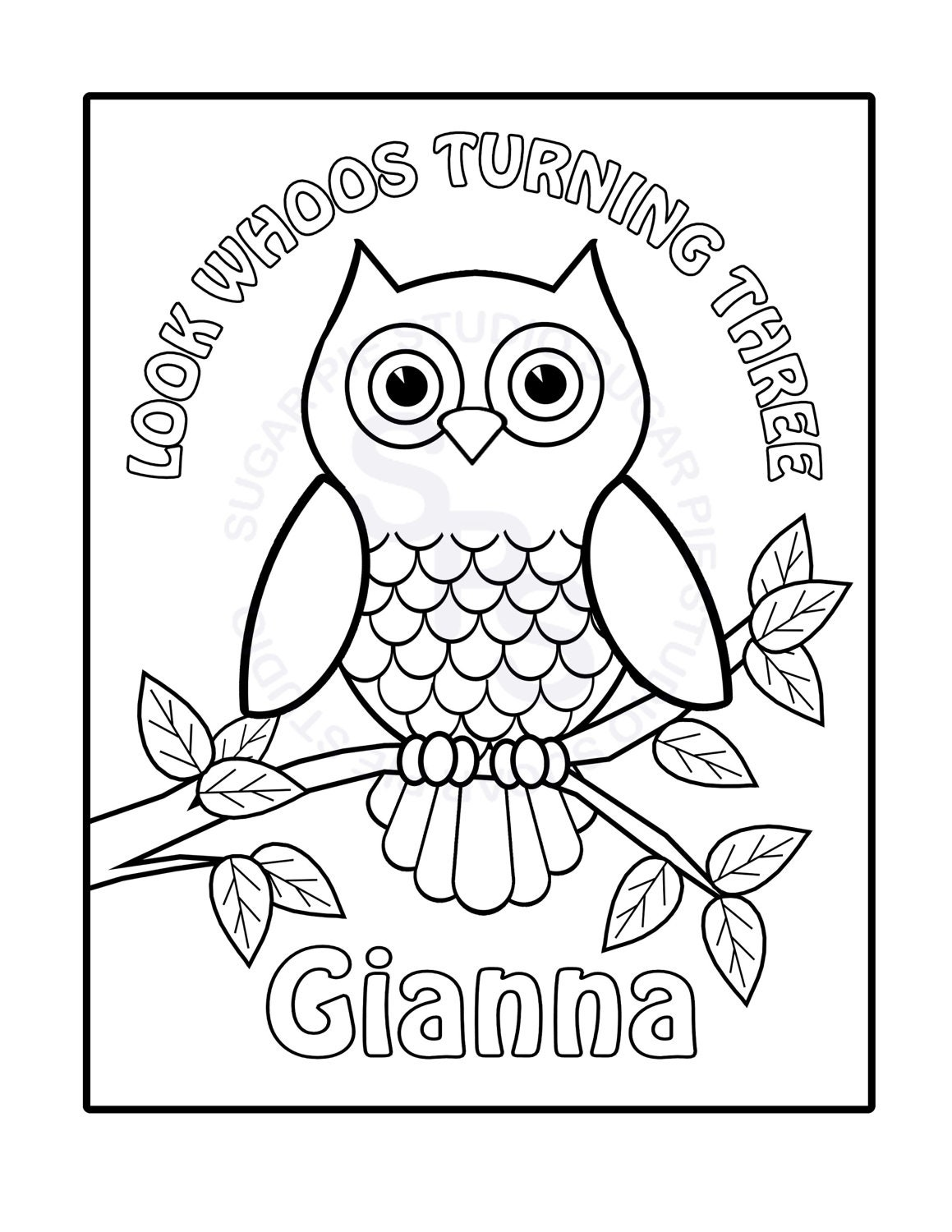 Personalized printable owl birthday party favor by Personalized coloring books for adults