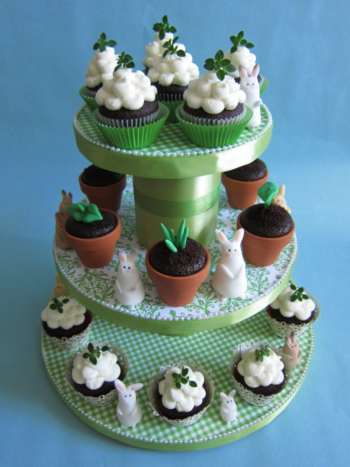Fresh Green Cupcake Tower