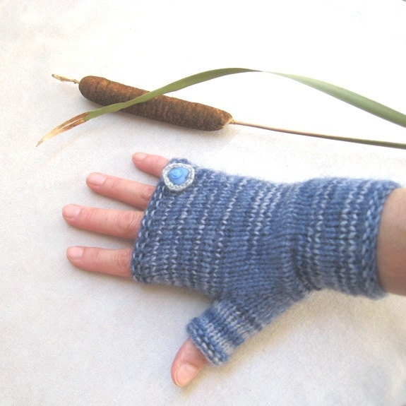 Fingerless mittens Fingerless gloves Knit Crochet Arm warmers Wool Denim Blue Gray Delicate brooch as a ring Handmade by Dimana