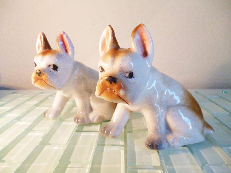 Vintage Dog Bulldog Occupied Japan 2 Ceramic By