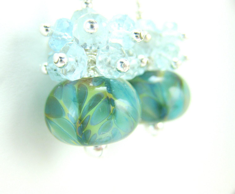 Aquamarine Cluster Earrings, Seafoam Glass Bead Earrings, Blue Green Boro Lampwork Earrings, Gemstone Earrings, Mint Earrings - Arctic Ocean - GlassRiverJewelry