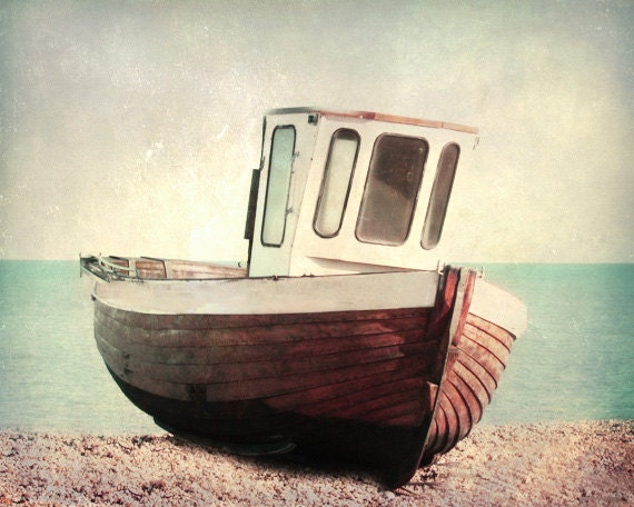 Vintage boat art print brown aqua retro by sevenelevenstudios for 1950s beach house designs