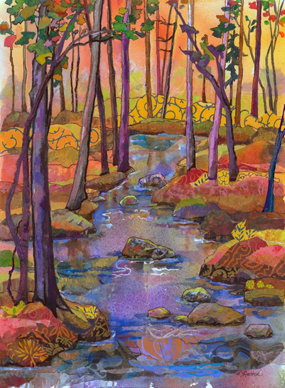Fall River Watercolor Mixed Media by Marty Husted