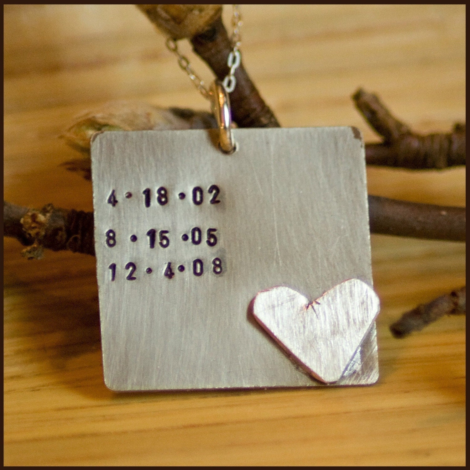 Custom Hand Stamped sterling SPECIAL DATES Necklace personalized by tagyoureitjewelry on etsy