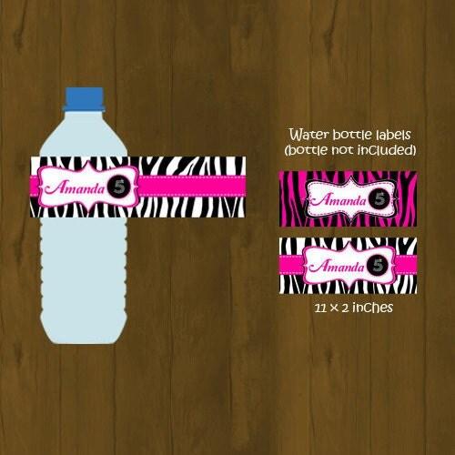 Hot Pink and Zebra Water Bottle Labels by SplashboxPrintables