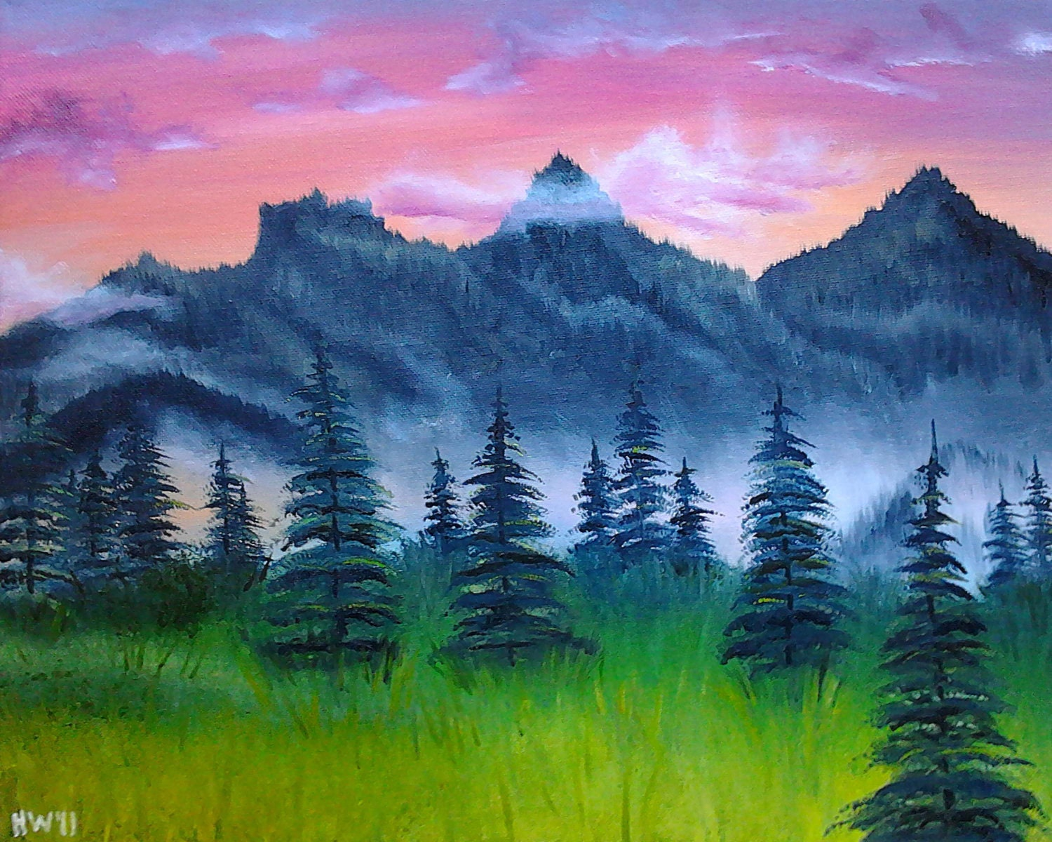 Mountain Sunset Landscape Paintings