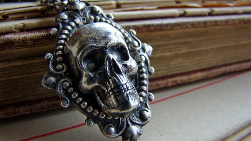 Hedonist Necklace - Skull Cameo and Sterling Silver Plated Neo Victorian Macabre