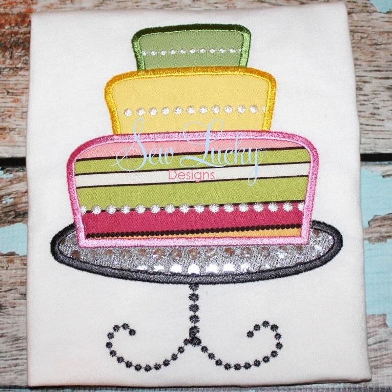Birthday/ Wedding Cake Applique Design by SewLuckyEmbDesigns