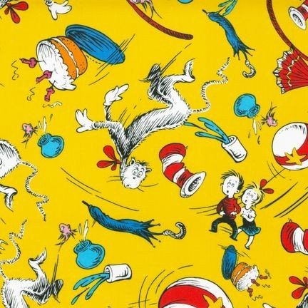 Cat In The Hat Book Images. The Cat In The Hat Book Character Motifs Yellow - Robert Kaufman - Fabric - Fat Quarter 18 by 22. From ThreeRiversFabric