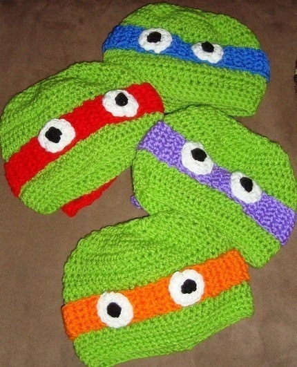 Crochet Teenage Mutant Ninja Turtle Hat Custom  6-12m, 18-24m, 2t-3t, 4-6-8, Teen and Adult