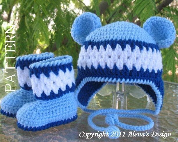 Crochet Baby Bear Booties Pattern : Crochet PATTERN Set Blue Bear Hat and Baby by AlenasDesign