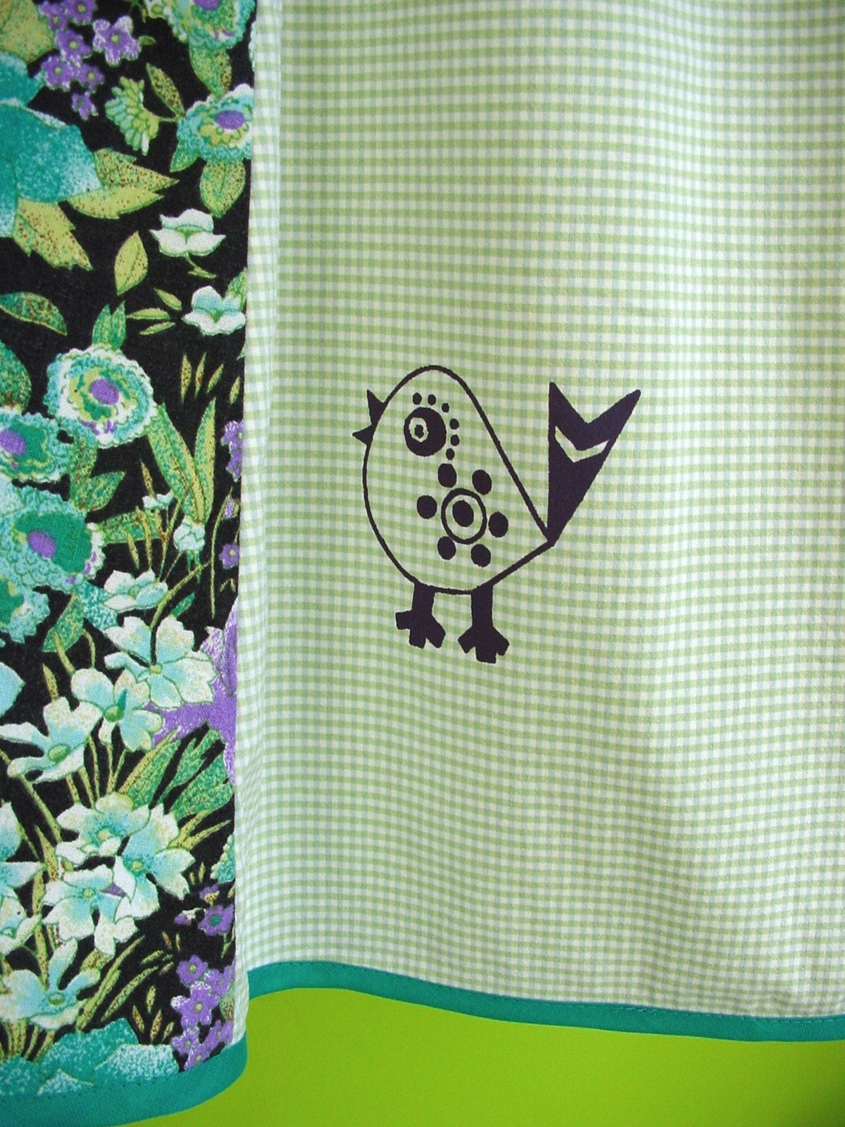 kinchi pretty bird skirt for women, hand screenprinted size XS-S  or S-M