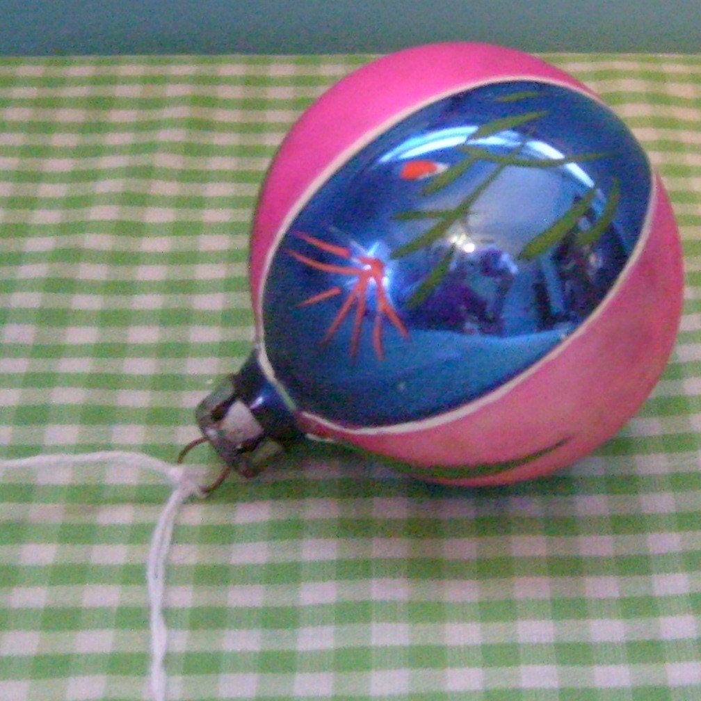 Vintage lily glass ball ornament hand painted pink blue and green