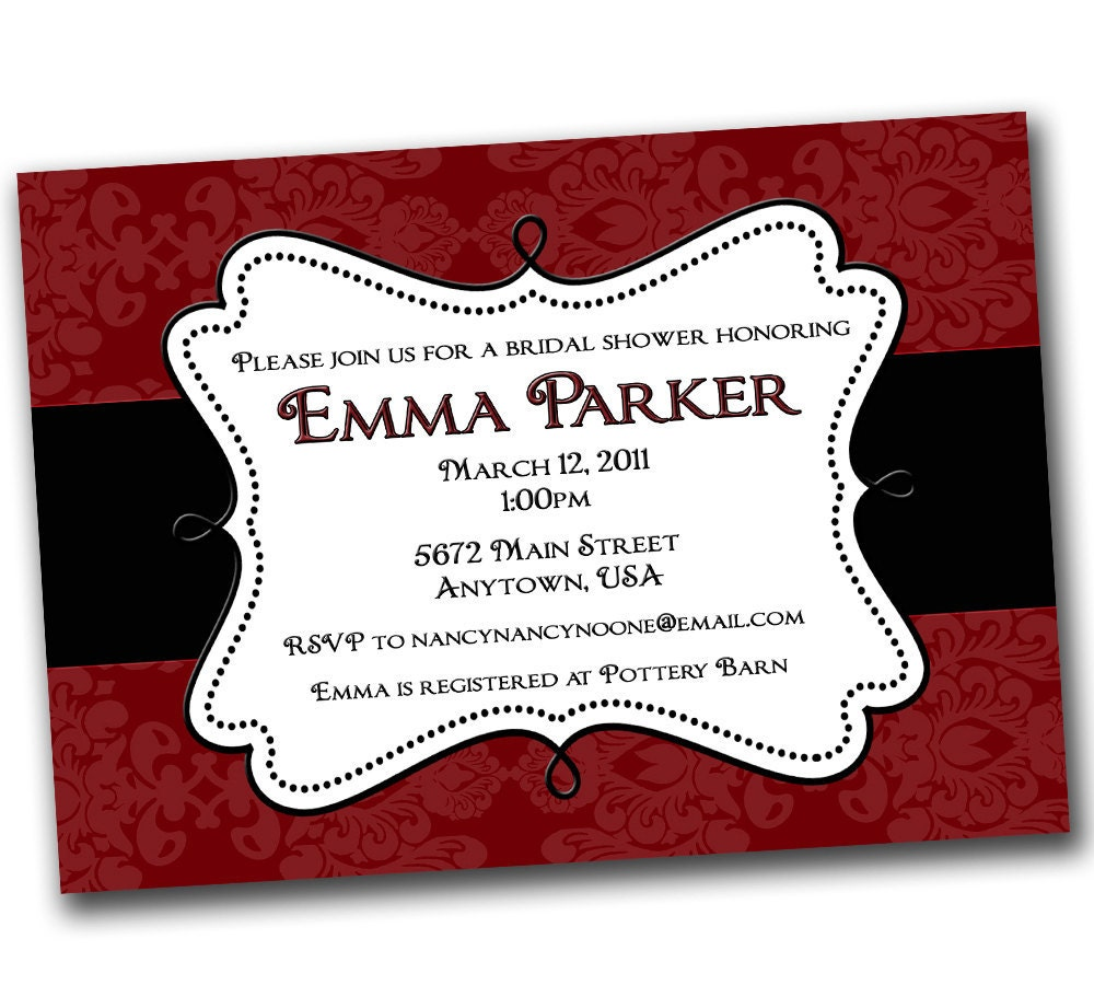 Request A Custom Order And Have Something Made Just For You Black White Chevron Red Wedding Bridal Shower Custom Invites